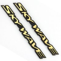 Wholesale Size Stickers For Motorcycles - 2 Pieces Set Golden Universal Car Motorcycle Stickers Hard Skywave Logo Stickers for Decoration Size 24cm*2cm