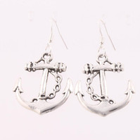 anchor earrings - MIC Cute Fashion Antique Silver Anchor Silver Fish Hooks Earrings Dangles Chandelier Fashion Jewelry X44mm E003