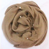 Acheter Perle solide-2016 Perles ordinaires Hijabs pour les femmes Viscose Châle massif Écharpe Beads Beaux Écharpe musulman Écharpes élégantes Expédition rapide FS002