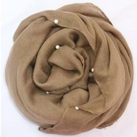 beads for scarves - 2016 Plain Pearls Hijabs For Women Viscose Solid Shawl Nice Beads Scarf Muslim Head Wrap Elegant Scarves Fast Shipping FS002