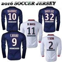 Wholesale Whosales TOP Thai Quality PSG Ibrahimovic Soccer Jerseys Paris Football Jersey verratti CAVANI Soccer long sleeve DI MARIA Discount