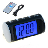 Wholesale 2016 Brand New Hidden Camera Digital Alarm Multi function Clock Video Security DVR Motion Detective With Remote