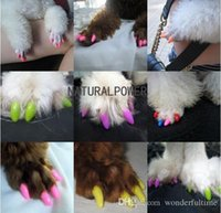 Wholesale Hot sale New Soft dog Pet Nail Caps Claw Control Paws off Adhesive Glue Size XS S M L Colors Available