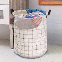 Wholesale 1pc Foldable Laundry Cloth Basket Waterproof Canvas Washing Clothes Hamper Laundry Basket Storage Bag For Clothes Basket Storage