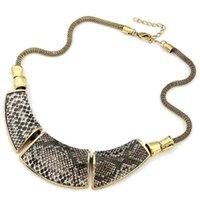 Precio de Snake skin-Xl053 venta al por mayor joyería de moda geometría montaje serpiente piel vintage collar
