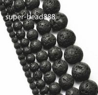 Wholesale 200pcs Natural Black Volcanic Lava Stone Round Beads Drop mm