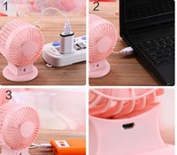 Wholesale The Upgraded Version Of The USB Mini Double Fan Desktop USB Small Fan Portable Small Fan Motor Double Mini Charging Small Fan