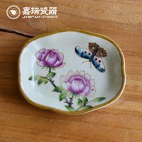 Wholesale Delicate Ceramic Soap Dish Bathroom Accessories floral and birds pattern Porcelain Dish Original Chinese Art and Crafts