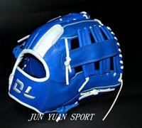 adult softball gloves - Hot sell Professional Weave cowhide leather glove INCH baseball gloves Red softball outfielder gloves Adult man Blue color