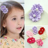 beak clips - Children s hair accessories baby head flower pearl hairpin beak clip headdress bohemian Europe Hair Sticks
