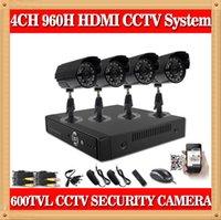 CIA- 4CH 960H Easy Setup système de caméra de sécurité vidéo 4 Extérieure 600TVL Caméras de sécurité à haute résolution CCTV système de jeu