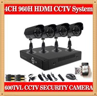 Cheap CIA- 4CH 960H Easy Setup Video Security Camera System 4 Outdoor Weatherproof 600TVL High Resolution CCTV Security Cameras set system