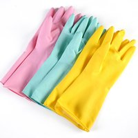 Wholesale the newest rubber household flocking lining colours winter dish washing latex gloves
