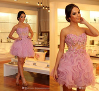 bead nail applique - Cocktail Dresses Plus size Pink Cocktail Dress Evening Short Skirt Stereo Applique Nail Bead Little Flower Transparent Dress