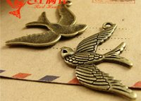 antique manufacturers - A3836 MM Antique bronze The swallow charms for bracelet vintage Bird Pendant DIY jewelry accessories manufacturers