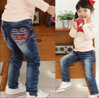 Wholesale Hot sale Retail New style baby girl s Jeans Children pants kids girl s love letter design jeans