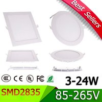 Wholesale LED Panel Light LED Recessed Ceiling light W W W W W W W AC85 V Suqare Shape Round LED Driver include ultrathin