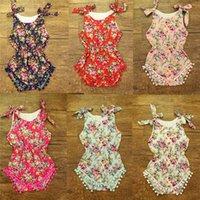 venda por atacado factory clothes-Fábrica de varejo 100% algodão Bebés Meninas Romper, Rose Motivos florais roupa do bebê, Pom bolha do bebê Romper, Verão recém-nascido Playsuit
