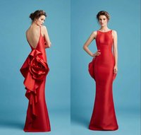 al caps - Red Backless Evening Dresses Long Mermaid Hamda Al Fahim Jewel Neck Ruffled Flower Prom Gowns Floor Length Sleeveless Evening Dress