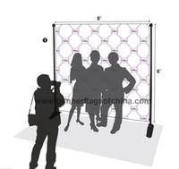 advertising trades - Freeshipping Adjustable x8 Step And Repeat Backdrop Telescopic Banner Stand System For Trade Show