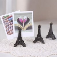 Precio de Torre eiffel al por mayor del partido-Al por mayor-10pc / lot de la torre Eiffel de papel foto tarjeta de escritorio antiguo acabado de metal nota de la nota de la foto del clip del sostenedor de la boda lugar de la tabla del partido del favor