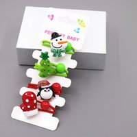 bb party supplies - European Christmas Snow Man And Christmas Tree BB Children Barrettes Christmas Children Hair Rubber Bands Party Supplies