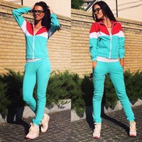 active coats - Women s autumn winter sexy zipper cardigan tracksuits casual long sleeved jacket coat female patchwork hit color two pieces sports suit