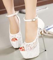 Wholesale women summer sandals lace pumps women party shoes platform pumps white wedding shoes stiletto heels open toe dress shoes