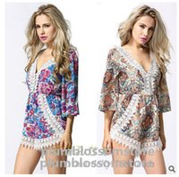 Wholesale jumpsuit Rompers women summer Europe S XL Hot sale new women s bat sleeve loose printing shorts Culottes plus size jumpsuits rompers