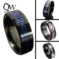 Wholesale Queenwish mm Black Blue Tungsten Carbide Rings Sliver Black K Rose Gold Celtic Dragon Mens Wedding Band Statement Jewelry