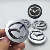Wholesale 4pcs mm For MAZDA CX CX CX RX8 MX5 MIATA MPV wheel Center Hub Cap mm Silver Black Logo