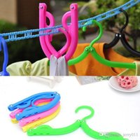 Wholesale quot Traveling Camping Portable Foldable Fold Plastic Clothes Hanger Hook Drying Rack Drop Shipping HG quot