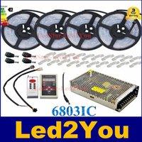 IC6803 5050 Tube bande numérique RVB 5M150LED IP67 rêve imperméable couleur magique DC12V Led Strip 30LED / m + IC6803 Controller + Adaptateur