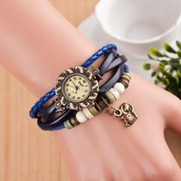 animal ladies watch - Fashion Retro Cat Pendant With Crystal Leather Weave Lady Bracelet Quartz Wrist Watch Student Knitted Hand Chain Girls Jewelry ZJ N32