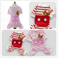 Wholesale Cute Small Dog Pajamas Clothes Chihuahua Yorkie Cotton Lying Bear Jumpsuit Puppy Female Pet Pink Jumpsuits Costume with Button