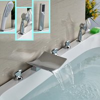 bathtub faucet with handheld shower - Bright Cchrome Widespread Waterfall Bathtub Faucet Deck Mount with Handheld Shower