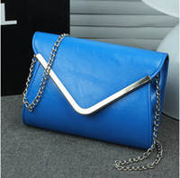 Wholesale Drop Shipping Lady Chain Envelop Clutch Bags Party Bag Handbag Evening Bag PU Leather Colors Good Quality