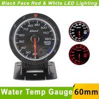 Wholesale 60mm Water Temp Gauge D fi Cr Advance Car Water temperature Gauge with sensor Auto Gauge Face LED Water Temp Meter Defi Gauge