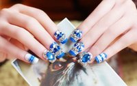 Wholesale 3D New product promotion Finished manicure pieces of a box Fake nails with the blue nail strips