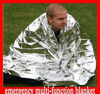 Wholesale Free DHL Multi function Outdoor Camping Waterproof Emergency Survival Insulation Foil Thermal First Aid Rescue Blanket Disaster