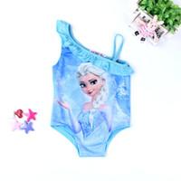 Wholesale 2016 Real Hot Sale Condole Belt Swimsuit Summer Children Clothes Grils Forzen Style Anna Elisa Kids Clothing Swimwear Gril