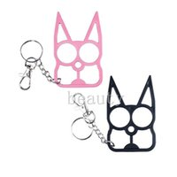 antique metal plate - DHL New Self Defense Kitty Cat Novelty Keychain New Designer Car Key Pendants U Shape Metal Chains Promotion Key Bag Car Rings NAR041