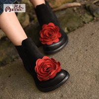 ankle boots comfortable - 2016 new arrival genuine leather national trend retro fashion female flowers ankle boots Low heels leisure comfortable women boots