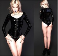 Cheap Wholesale-Sexy Black Zipper Womens Erotic Jumpsuit PVC Faux Leather Catsuit Stripper Pole Leotard Skeleton Bodysuit Club Outfit Costumes