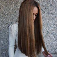 Precio de Peluca recta sin cola peruana llena del cordón-Peruano pelucas llenas del cordón del pelo humano pelucas rectas del cordón de Glueless para las mujeres parte media color marrón con el pelo del bebé