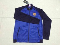 barcelona soccer clothes - 16 Barcelona blue jacket Mens top thailand quality soccer training jerseys soccer sweater Training clothes Soccer Jerseys