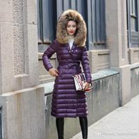 Wholesale 2016 Purple Fashion Plus Size X long Duck Down Coat Slim Thick Fur Plus Size Women Down Jacket Winter Coat Parka Women Jackets FS0744