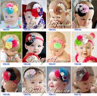 Wholesale Baby Chiffon Flower Headbands Card Pack Top Grade Kids Accessories Euro Ebay Amazon Hot Sale Baby Flower Headbands