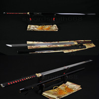 Wholesale Hand Forged Japanese Samurai Ninja Sword Sharp Full Tang Straight Blade High Carbon Damascus Folded Steel Katanas Can Cut Bamboo