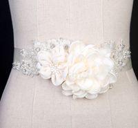 Wholesale Elegant Ribbon Flower Bridal wedding dress Handmade Beaded Pearls Waist Belt Rhinestone accessories Hot Sale